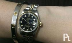 Two tone ladies datejust black face with original