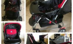 2nd hand red and black baby stroller 3 way seat