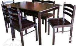 FOR SALE: 6-SEATER MAHOGANY WOOD BLACK DINING TABLE