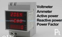 AC voltmeter ammeter with active and reactive power