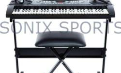 61 compact, light-weighted keys and built-in speakers