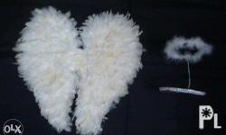 Small Angel Wings with halo Made of feathers.