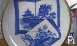 antique japanese Igezara plate early transferware made
