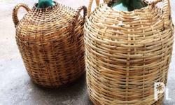 Antique damajuana with rattan wrap nice to family