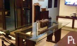 Solid Narra Wood Dining Table with carvings with glass