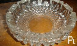 Crystal Glass Ashtray ..elegant for decor and crystal