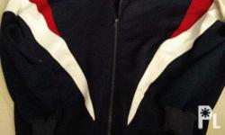 Dark Blue Jacket with White / Red Color Combination