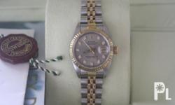 Rolex 2tone ladys silver computer face with diamonds