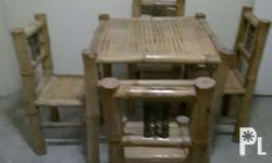 Bamboo table set and double bed... see to appreciate