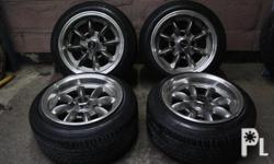 selling my magwheels with tires banana 13 x 8 pcd 114 /