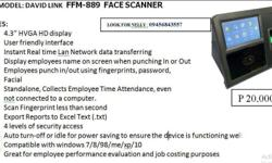 LATEST MODEL: DAVID LINK FFM-889 FACE SCANNER Look For