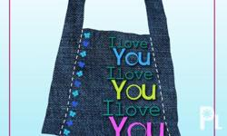 Deskripsiyon Hand-painted faux denim bags that glow in