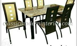 Anniston Dining Set 6-seater. Marble design Tempered