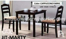 Marty Dining Set 2-seater. Wenge finish, cushion seat.