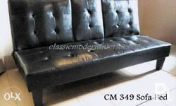 CM 349 Sofa Bed. Available in Leather Black. Middle