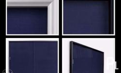 Bulletin Board With Sliding Doors Black With Blue