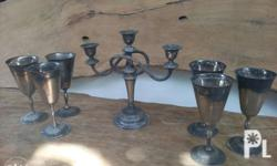 Old candle holder from Canada..and 6pcs old goblets