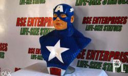 Customized Captain America life-size head bust, made