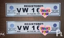 Car plate temporary (virtual plate) In white acrylic
