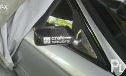 cf craft square side mirror with aLuminum base & fiber