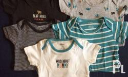 Carter's set of Five Onesies 12mos on tag Some were