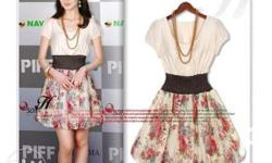 Floral Korean Dress (necklace not included)
