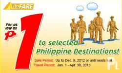 CEBU PACIFIC PROMO FARE FOR AS LOW AS PHP1 FOR SELECTED