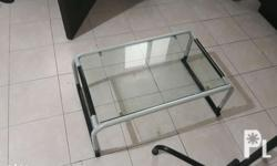 Center table, glass top and metal stand