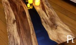 Center table with blue reflective glass, acacia wood,