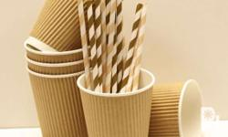 COFFEE CUPS - single wall (plain white) - corrugated