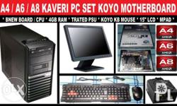 A4-6300 PC Package 4gb ram, 15inches lcd, 160gb hdd,