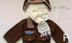 Made to Order Crochet Baby Aviator Costumes perfect for