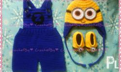 Made to order Crochet minion costume for baby boy and