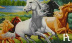 Cross Stitch ?Wild Horses? Dims. L 25? x W 35? Unframed