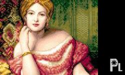 red lady cross stitch pattern. shipment fee will be