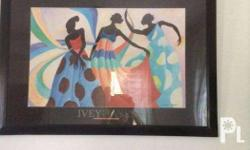 Elegant painting enclosed with black frame. It shows