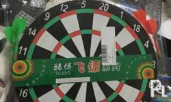 Dart board with dart pins perfect for hanging in your