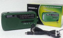 Degen DE13 Emergency and Survival Radio. USB / Crank /