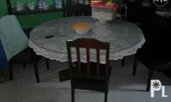 60 inch round table with glass cover and 6 pcs wooden