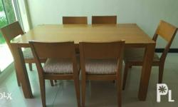 -Six-seater dining set -Wooden finish for both the