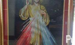 46 in x 35 in nicely framed Divine Mercy Cross-stitch.