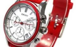 White Dial Chronograph Red Silicone Watch for Women