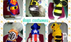 Fitted to medium sized dog, padded costumes with hood,
