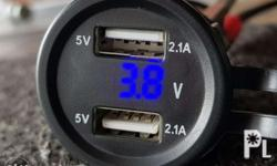 Dual usb charger volt meter 21amp iPhone Android Tablet