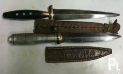 Deskripsiyon old knives ,60?s double blade w/leather