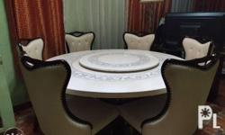 Elegant Marble 6 Seater Dining Set Table and 6 Chairs