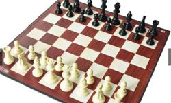 """Heavy solid plastic chessmen with suede bases 18"""" x 18"""""""