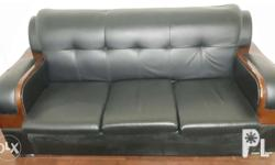 *Imported sofa or office set *Black leather 3 small and