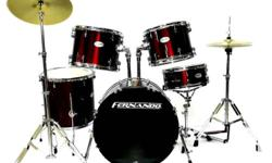 Equipt with REMO heads Full Size Complete Drum Set with