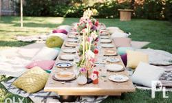Floor Table with Throw Pillows for Events